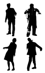 Black silhouettes of walking zombies