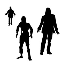 Black silhouettes of living walking dead