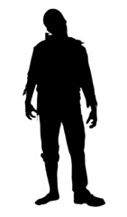Black silhouette walking dead