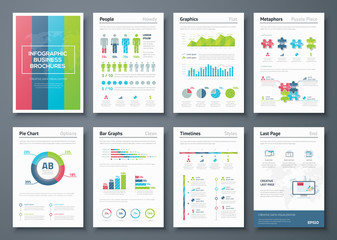 Vector graphics in infographic business brochure illustration