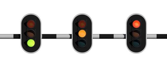 Stoplicht op oranje groen en oranje - frontaal aanzicht