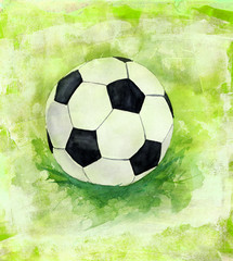 Drawing of football (soccer) ball on artistic background