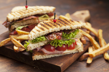 club sandwich on white background