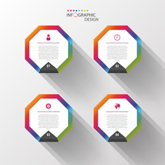 Infographic design template. Colorful hexagons. Vector