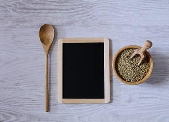 Lentils and blackboard.