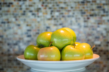 Green Apples on White Plate