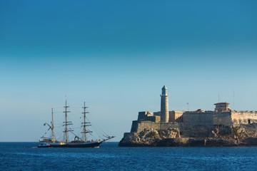 Sailing on ocean near to lighthouse in Havana, Cuba