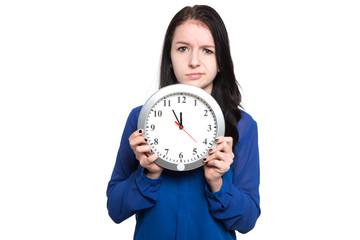 Nachdenkliche Dame mit Uhr
