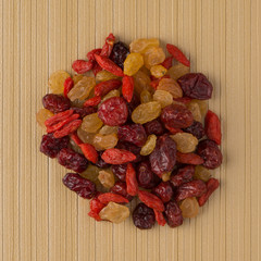Circle of mixed dried fruits