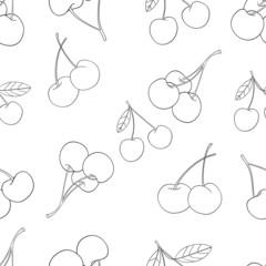 Delightful garden - Seamless pattern of a lot of cherries 2