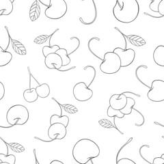 Delightful garden - Seamless pattern of a lot of cherries 1