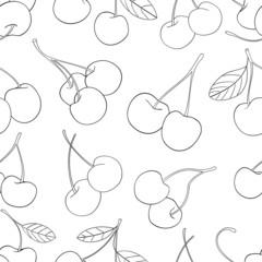 Delightful garden - Seamless pattern of a lot of cherries 3