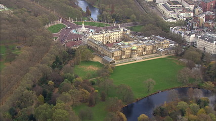 Aerial view over Buckingham palace in London and the surrounding area