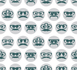 Hipster faces expressions seamless pattern