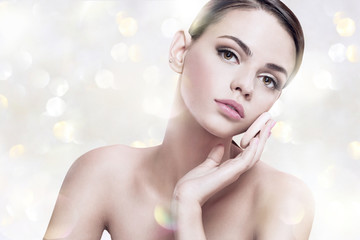 Pretty girl enjoy a flawless skin, skin care concept