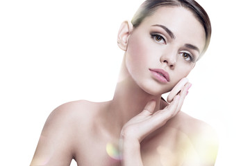 portrait of beautiful young woman with healthy clean skin