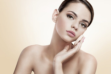 Pretty female enjoy a flawless skin, skin care concept