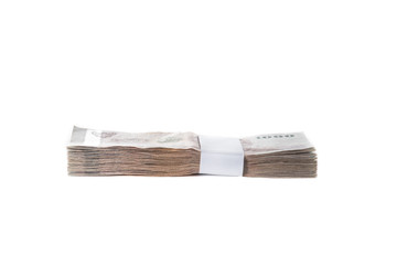 Thai baht banknotes on white