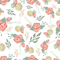 Seamless colorful floral pattern elements  5
