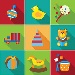 baby toys flat background icon set 1