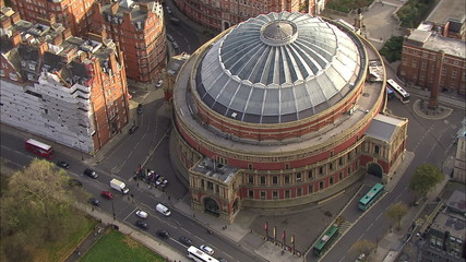 Aerial view of London's Royal Albert Hall and the surrounding area