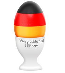 Ei, 2 Bio - Frühstückseieri mit Eierbecher,schwarz, rot,gold
