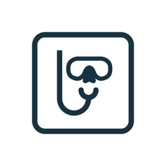 diving mask icon Rounded squares button
