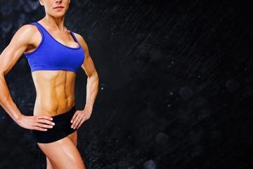 Composite image of female bodybuilder