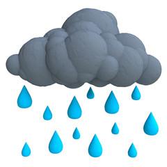 Cartoon rain cloud from plasticine or clay.