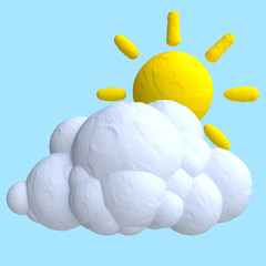 Cartoon cloud and sun from plasticine or clay.