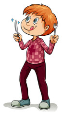 Man holding a fork and a knife