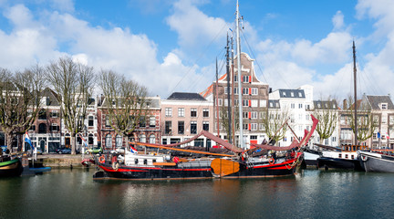Historic sailing cargo ship moored in the Dutch city of Dordrech