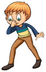Boy smelling a fishy odor