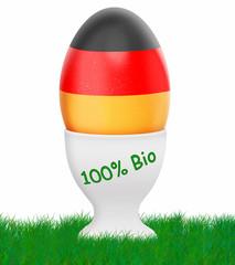 deutsches Ei,100%  Bio - Ei mit Eierbecher,schwarz, rot,gold