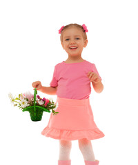 child girl basket  flowers fun studio portrait isolated white
