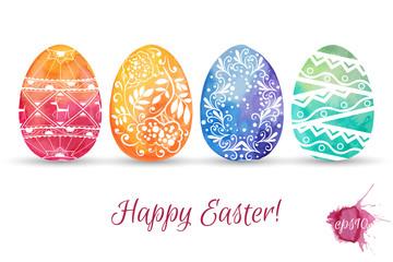 Hand drawn patterned Easter eggs. Vector illustration.