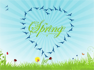 Spring background with birds forming an heart