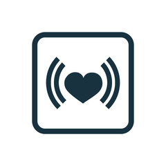 heart beat icon Rounded squares button