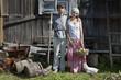 Retro couple on a farm