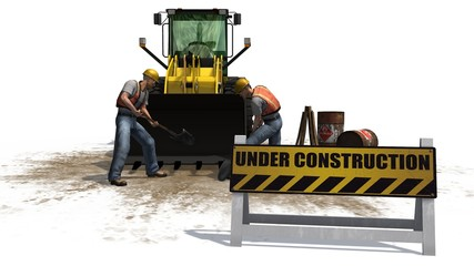 under construction sign bulldozers and construction workers