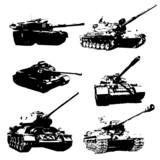 Silhouettes of black battle tanks. Icons tanks - 80575411