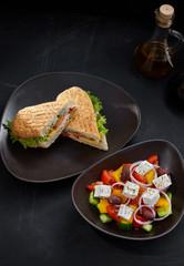 Greek salad with kebab
