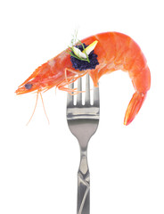 Fresh colorful composition with seafood on fork