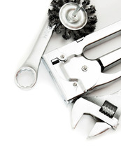 Metalwork. Working tools on white background.