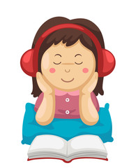 girl listening music and reading book