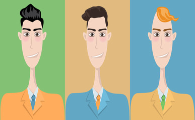 Set of cartoon icons, office style. Guys