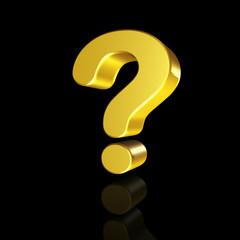 Golden question mark in 3D