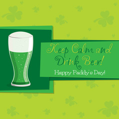 Beer St. Patrick's Day card in vector format.