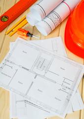 Repair work. Drawings for building, screwdriver, helmet and