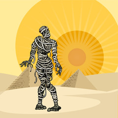 mummy, in the desert next to pyramids